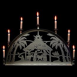 Edelstahl - Schwibbogen mit Edelstahl - Kerzenhaltern für Innen  -  Christi Geburt  -  60x35cm