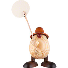 Egghead Willi, Holding a Sign, Brown  -  11cm / 4.3 inch