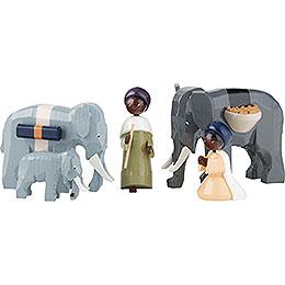 Elefantentreiber 5 - teilig farbig  -  7cm