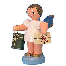 Engel mit 2 Geschenken  -  Blaue Flügel  -  stehend  -  6cm