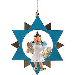 Engel mit Becken im Stern, farbig  -  9,5cm