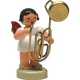 Engel mit Kontrabassposaune  -  Rote Flügel  -  stehend  -  6cm