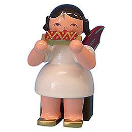 Engel mit Mundharmonika  -  Rote Flügel  -  sitzend  -  5cm