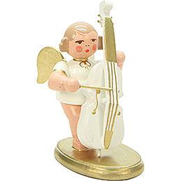 Engel weiß/gold mit Bass  -  6,0cm