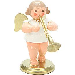Engel weiß/gold mit Flügelhorn  -  6,0cm