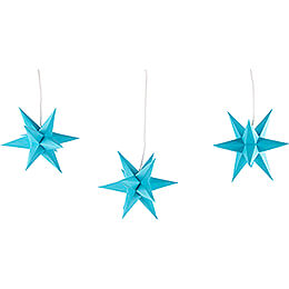 Erzgebirge - Palace Moravian Star Set of Three Blue incl. Lighting  -  17cm / 6.7 inch
