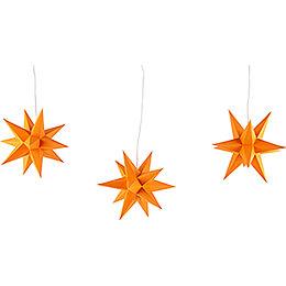 Erzgebirge - Palace Moravian Star Set of Three Orange incl. Lighting  -  17cm / 6.7 inch