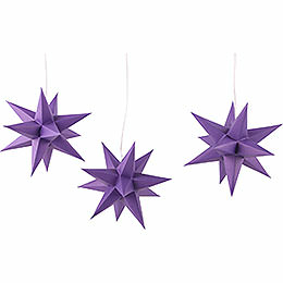 Erzgebirge - Palace Moravian Star Set of Three Violet incl. Lighting  -  17cm / 6.7 inch