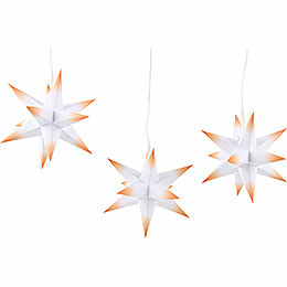 Erzgebirge - Palace Moravian Star Set of Three White Core with Orange Tips incl. Lighting  -  17cm / 6.7 inch