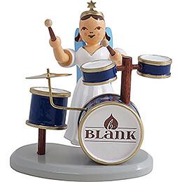 Faltenlangrockengel mit Schlagzeug, farbig  -  6,6cm