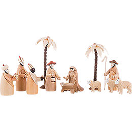 Figurine Set for 2 - Tier Pyramid  -  NATIVITY (natural)  -  12 pcs.