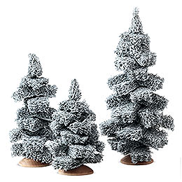 Fir Tree with Snow without Trunk, Set of Three  -  13cm / 5.1 inch