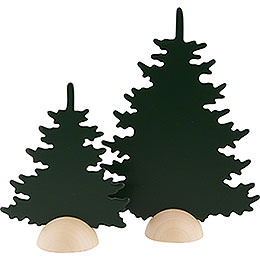 Fir Trees  -  2 Pieces  -  Green  -  20cm / 8 inch
