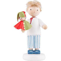 Flachshaarkinder Junge mit Kasperle rot/grün  -  5cm