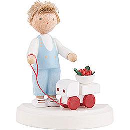 Flachshaarkinder Kleiner Junge mit Auto und Kirschen  -  ca. 5cm