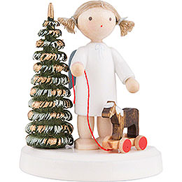 Flax Haired Angel at the Christmas Tree with Little Horse  -  5cm / 2 inch