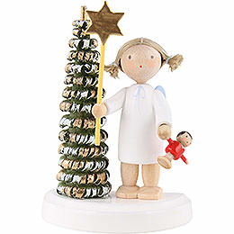 Flax Haired Angel at the Christmas Tree with Star and Doll  -  5cm / 2 inch