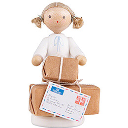 Flax Haired Angel with Christmas Gifts  -  5cm / 2 inch