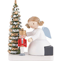 Flax Haired Angel with Nutcracker at the Christmas Tree  -  5cm / 2 inch