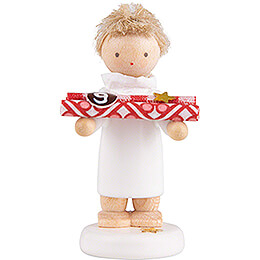 Flax Haired Angel with Present Paper (9)  -  5cm / 2 inch