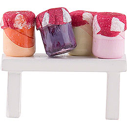 Flax Haired Children Bench with Fruit Jam  -  4cm / 1.6 inch