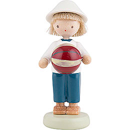 Flax Haired Children Boy with Ball  -  Ca. 5cm / 2 inch