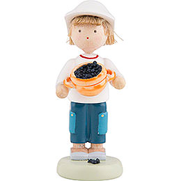 Flax Haired Children Boy with Blueberries  -  Ca. 5cm / 2 inch