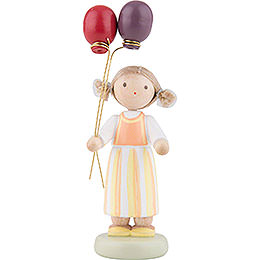Flax Haired Children Girl with Balloons  -  Ca. 6,5cm / 2,5 inch