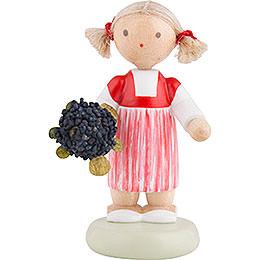 Flax Haired Children Little Girl with Elder Flower  -  5cm / 2 inch