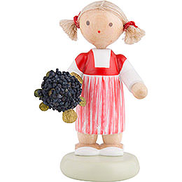 Flax Haired Children Little Girl with Elder Flower  -  Ca. 5cm / 2 inch