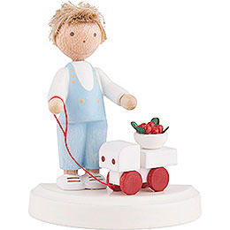 Flax Haired Children Small Boy with Toy Car and Cherries  -  Ca. 5cm / 2 inch