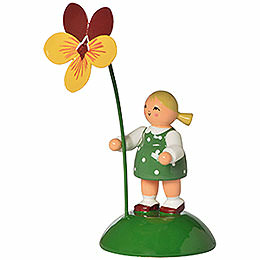 Flower Girl with Pansy  -  6cm / 2.4 inch
