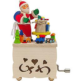 Handkurbelkästel Weihnachtsmann  -  10cm