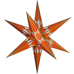 Hartenstein Christmas Star for Inside Use  -  White - Orange with Gold  -  68cm / 27 inch