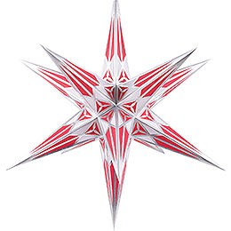 Hartenstein Christmas Star for Inside Use  -  White - Wine Red with Silver  -  68cm / 27 inch