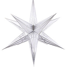 Hartenstein Christmas Star for Inside Use  -  White with Silver  -  68cm / 27 inch