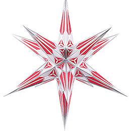 Hartensteiner Weihnachtsstern für Innen  -  weiß - weinrot mit silber  -  68cm