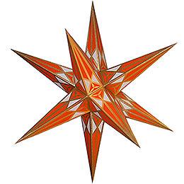 Hartensteiner Weihnachtsstern  -  weiß - orange mit gold  -  68cm