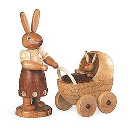 Hasenmutter mit Kinderwagen  -  11cm