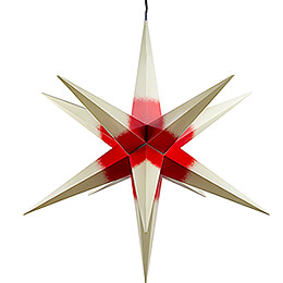 Hasslau Christmas Star  -  Creme with Red Core and Lighting  -  75cm / 30 inch  -   Inside/Outside Use