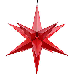 Hasslau Christmas Star  -  Red and Lighting  -  60cm / 23.6 inch  -  Inside/Outside Use