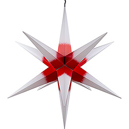 Hasslau Christmas Star  -  White with Red Core and Lighting  -  75cm / 30 inch  -   Inside/Outside Use