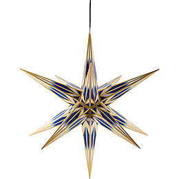 Hasslau Christmas Star for Inside and Outside Use Blue/White with Golden Pattern incl. Lighting  -  75cm / 30 inch