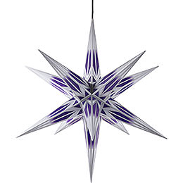 Hasslau Christmas Star for Inside and Outside Use Purple/White with Silver Pattern incl. Lighting  -  75cm / 30 inch