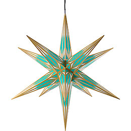 Hasslau Christmas Star for Inside and Outside Use Turquoise/White with Golden Pattern incl. Lighting  -  75cm / 30 inch