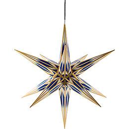 Haßlauer Weihnachtsstern für Innen und Außen blau/weiß mit Goldmuster inkl. Beleuchtung  -  75cm
