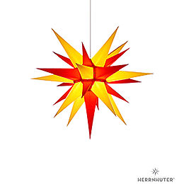 Herrnhuter Moravian Star I6 Yellow/Red Paper  -  60cm / 23.6 inch
