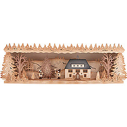 Illuminated Stand  -  Seiffen Townhall with Christmas Tree  -  60x17cm / 23.6x6.7 inch
