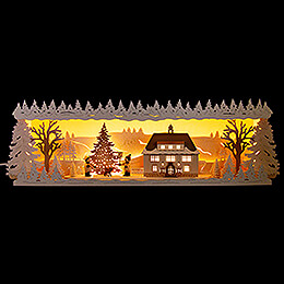 Illuminated Stand  -  Seiffen Townhall with Snow  -  60x17cm / 23.6x6.7 inch