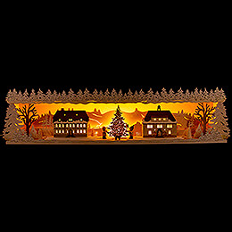 Illuminated Stand  -  Seiffen Village with Snow  -  75x20cm / 29.5x7.9 inch